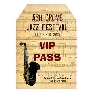 Tema del saxofón del paso del festival de música invitación 12,7 x 17,8 cm
