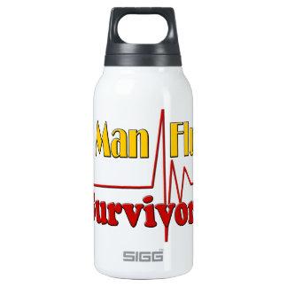 Tema del superviviente de la gripe del hombre botella isotérmica de agua