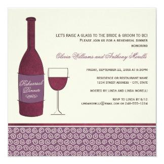 Tema del vino de las invitaciones el   de la cena invitación 13,3 cm x 13,3cm