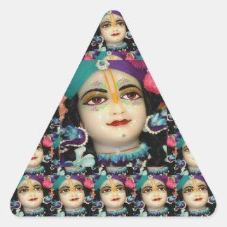 Tema: El canto n de la dedicación de KRISHNA Pegatina Triangular