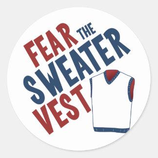 Tema el chaleco del suéter pegatina redonda