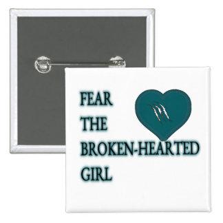 Tema el hearted quebrado pin cuadrado