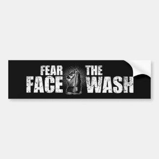 Tema el lavado de la cara etiqueta de parachoque
