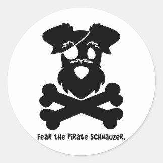 Tema el Schnauzer del pirata Pegatina Redonda