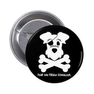 Tema el Schnauzer del pirata Pin Redondo De 2 Pulgadas