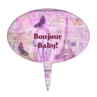 Tema francés de París de la frase del bebé de Bonj Figura De Tarta