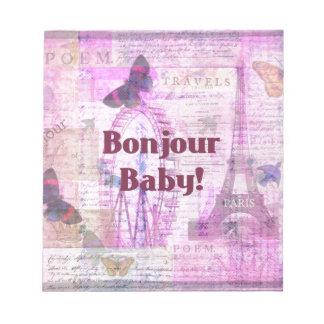 Tema francés de París de la frase del bebé de Bonj Bloc De Papel