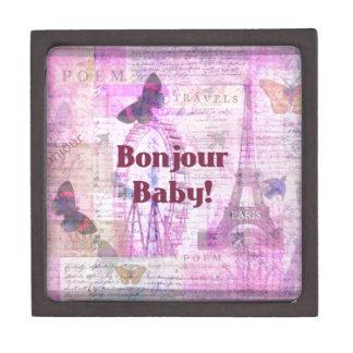 Tema francés de París de la frase del bebé de Bonj Cajas De Joyas De Calidad