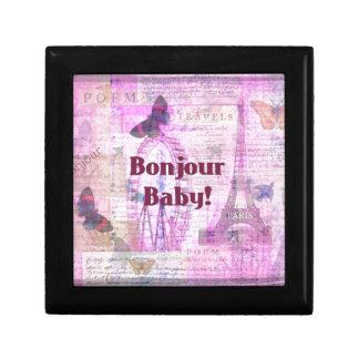 Tema francés de París de la frase del bebé de Bonj Cajas De Recuerdo
