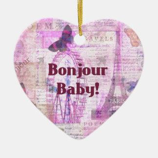 Tema francés de París de la frase del bebé de Bonj Ornamento De Navidad