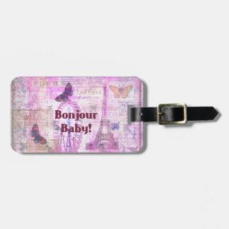 Tema francés de París de la frase del bebé de Bonj Etiquetas De Maletas