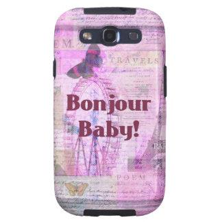Tema francés de París de la frase del bebé de Bonj Samsung Galaxy S3 Protector