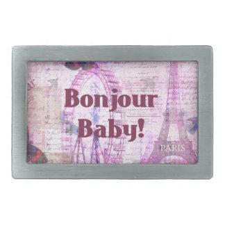 Tema francés de París de la frase del bebé de Bonj Hebillas Cinturon