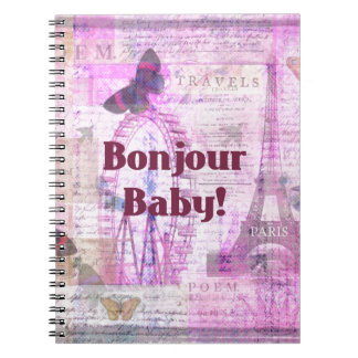 Tema francés de París de la frase del bebé de Bonj Libreta