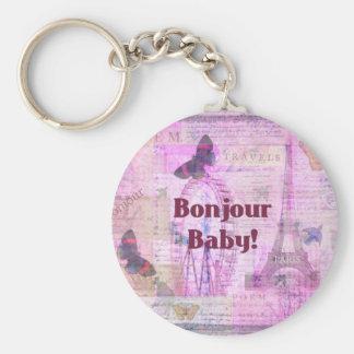 Tema francés de París de la frase del bebé de Bonj Llavero