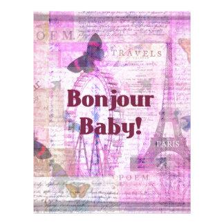 Tema francés de París de la frase del bebé de Bonj Plantillas De Membrete