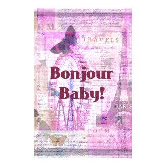 Tema francés de París de la frase del bebé de Bonj Papeleria