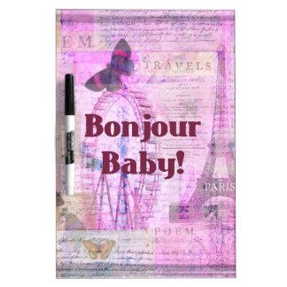 Tema francés de París de la frase del bebé de Bonj Pizarras