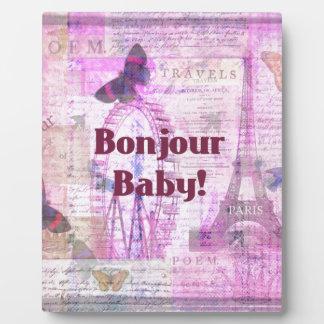 Tema francés de París de la frase del bebé de Bonj Placas Para Mostrar