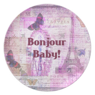 Tema francés de París de la frase del bebé de Bonj Platos