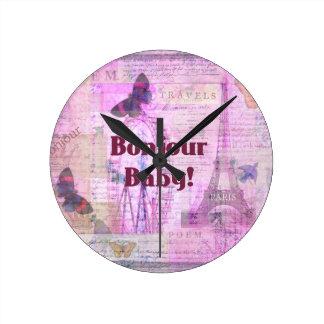 Tema francés de París de la frase del bebé de Bonj Reloj