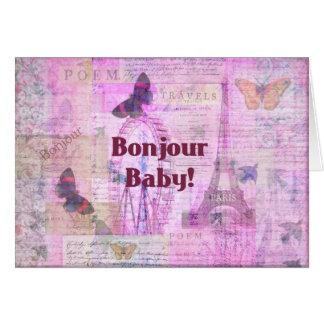 Tema francés de París de la frase del bebé de Bonj Tarjeton