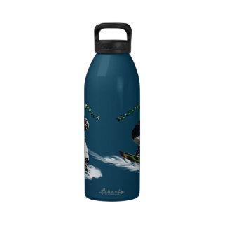 Tema fresco de los deportes de invierno del huéspe botellas de agua reutilizables