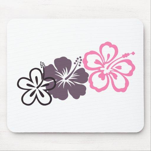 tema gris y rosado del Hawaiian del hibisco Tapetes De Ratones