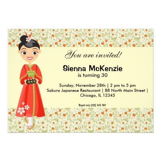 Tema japonés del cumpleaños invitacion personalizada