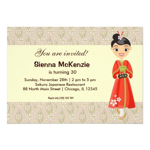 Tema japonés del cumpleaños invitación