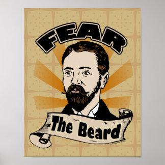 Tema la barba, bigote divertido póster