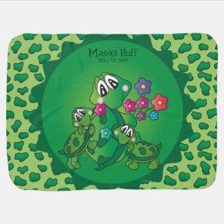 Tema lindo del cuarto de niños de la tortuga mantitas para bebé