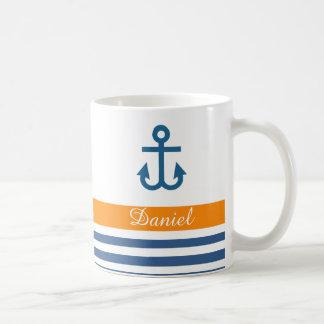 Tema náutico de la marina de guerra anaranjada taza