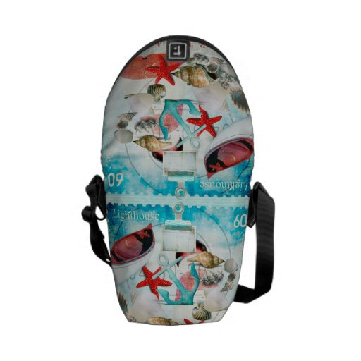 Tema náutico de la playa de las estrellas de mar d bolsas de mensajeria