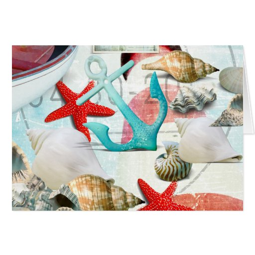 Tema náutico de la playa de las estrellas de mar d tarjeton
