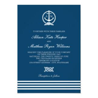 Tema náutico de las rayas de las invitaciones el | invitación 12,7 x 17,8 cm
