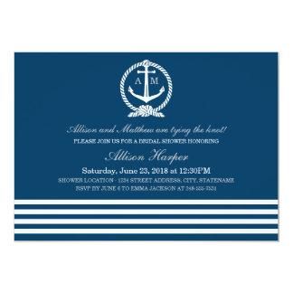 Tema náutico nupcial de las rayas de las invitación 12,7 x 17,8 cm