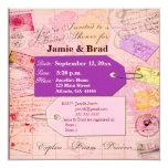Tema nupcial de la ducha del viaje en rosa y invitación 13,3 cm x 13,3cm