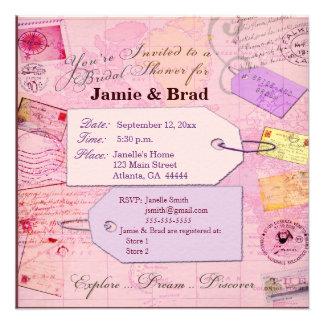 Tema nupcial de la ducha del viaje en rosa y púrpu invitacion personalizada