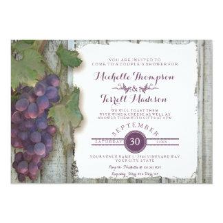 """Tema nupcial de las uvas de vino del viñedo de la invitación 5"""" x 7"""""""