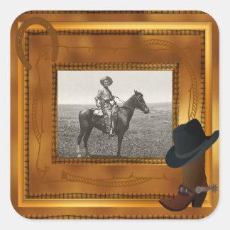 Tema occidental con la plantilla de la foto de la pegatina cuadrada