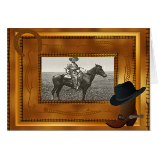 Tema occidental con la plantilla de la foto de la  tarjeta pequeña