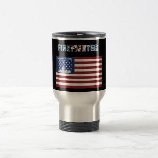 Tema patriótico de la taza del viaje del bombero