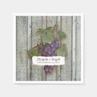 Tema personalizado de la uva de vino de la servilleta de papel