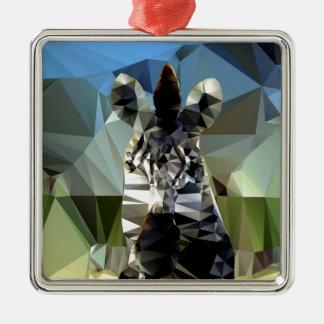 Tema polivinílico bajo africano de la cebra adorno navideño cuadrado de metal