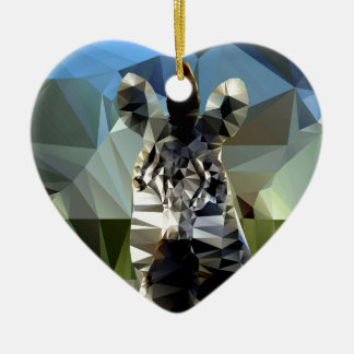 Tema polivinílico bajo africano de la cebra adorno navideño de cerámica en forma de corazón