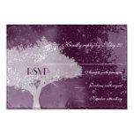 Tema púrpura del árbol de amor que casa RSVP Invitación 8,9 X 12,7 Cm