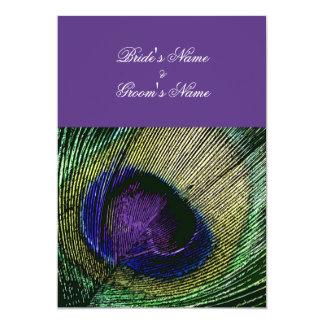 """Tema púrpura del boda del pavo real n - cree sus invitación 5"""" x 7"""""""