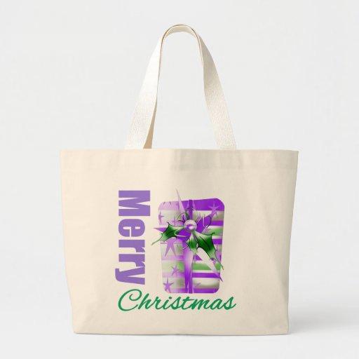 Tema púrpura Giftbox de las Felices Navidad Bolsa Tela Grande