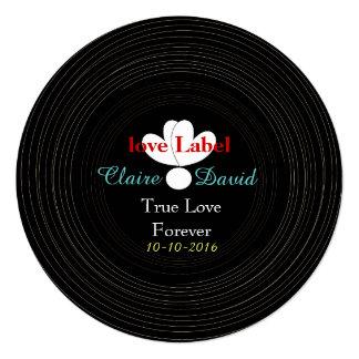 Tema retro blanco y negro de la música del disco invitación 13,3 cm x 13,3cm